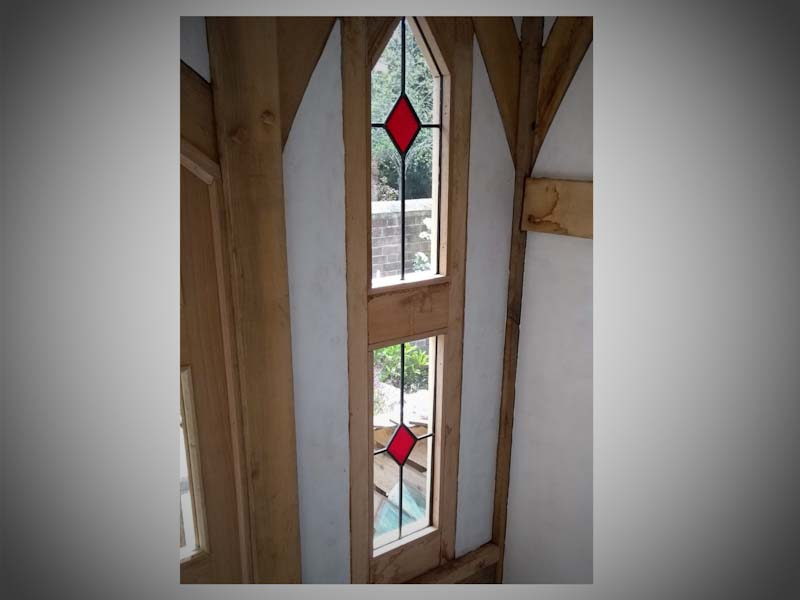 simple lead light windows made for a summer house in Glastonbury